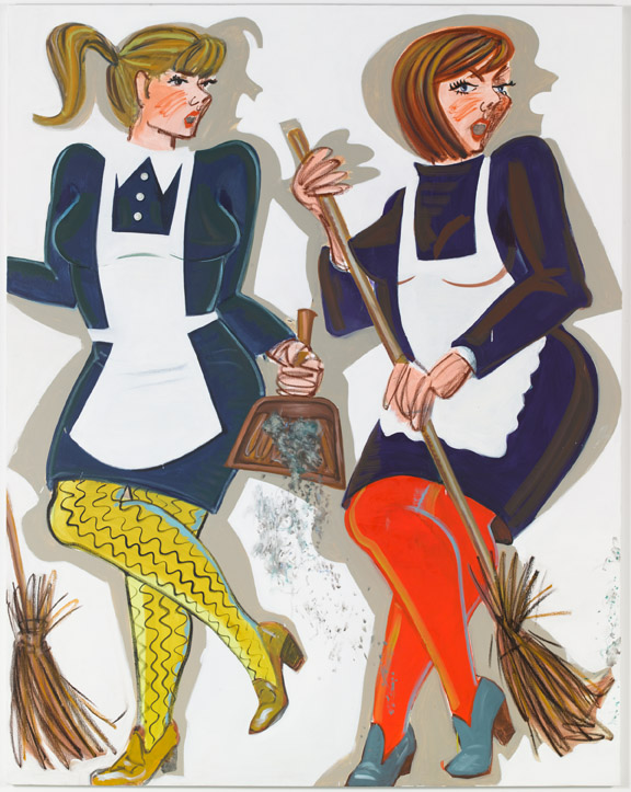 Ella Kruglyanskaya, Singing Maids, 2014. Oil and oil stick on linen. Commissioned by Studio Voltaire for How to work together a shared project with Chisenhale Gallery and The Showroom. Courtesy of the artist and Gavin Brown's enterprise, New York.