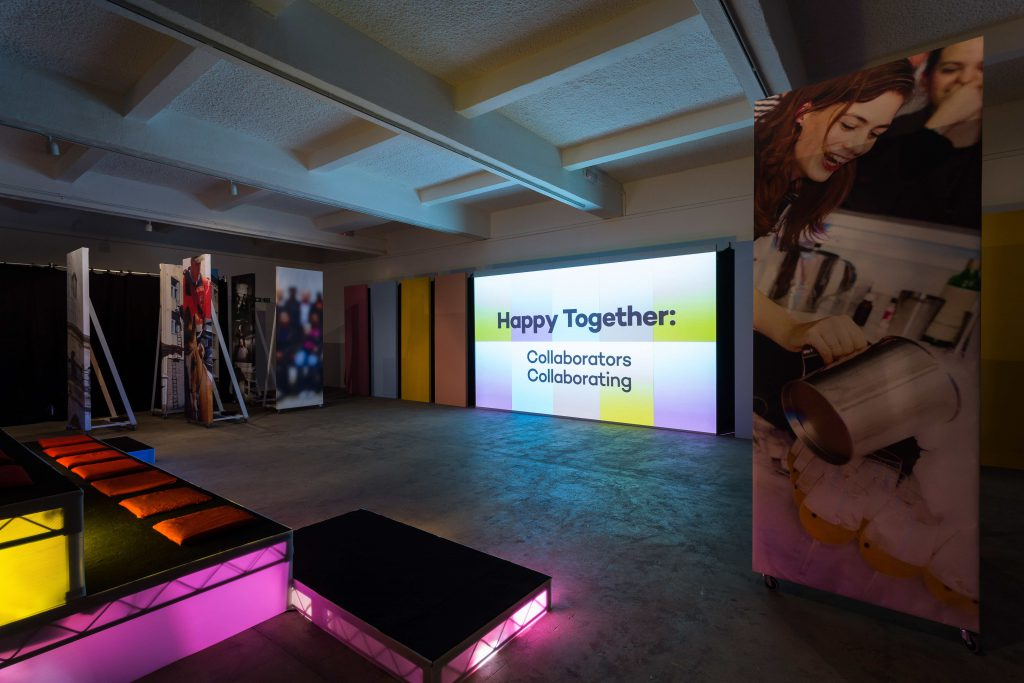 Ahmet Öğüt, Happy Together: Collaborators Collaborating (2015) Installation view, Chisenhale Gallery, 2015. Commissioned and produced by Chisenhale Gallery as part of How to work together. Courtesy the artist. Photo: Mark Blower.
