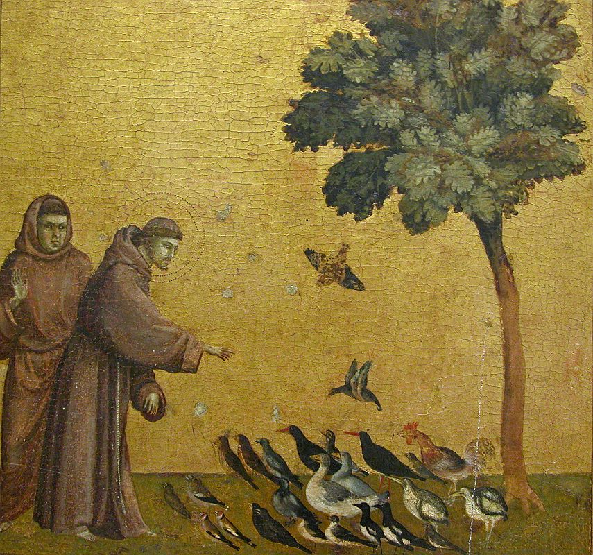 Paris Louvre Painting by Giotto di Bondone - St Francis Preaching To The Birds (ca 1295-1300).